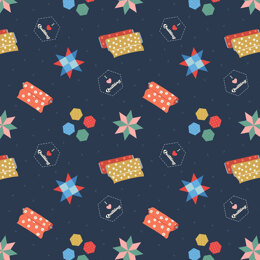 Lewis & Irene Small Things Crafts  - Quilting on dark blue