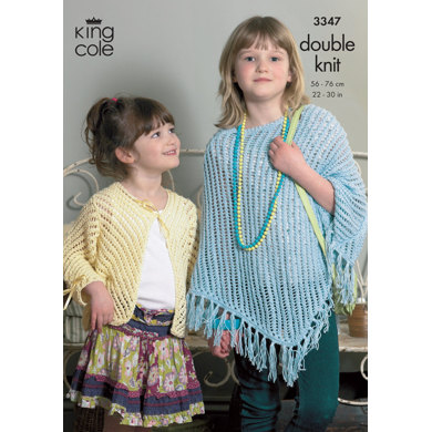 Girls Poncho & Cardigan in King Cole Bamboo Cotton DK - 3347