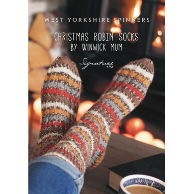 Christmas Robin Socks in West Yorkshire Spinners Signature 4 Ply - FP0003 - Downloadable PDF