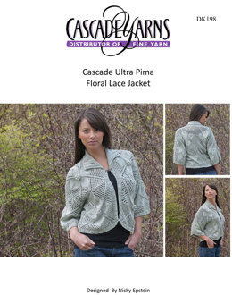 Floral Lace Jacket in Cascade Ultra Pima - DK198