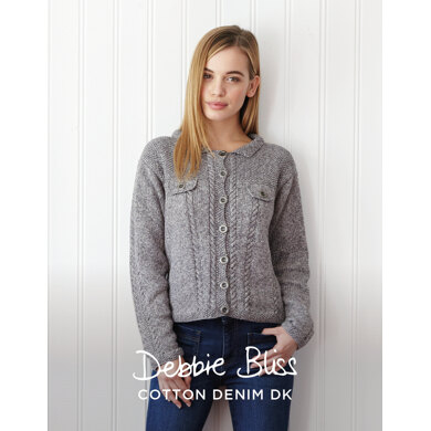 Sienna Jacket in Debbie Bliss Cotton Denim DK - DBS049 - Downloadable PDF