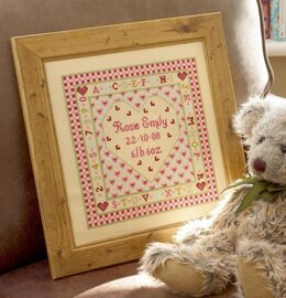 Historical Sampler Company Heart Birth Sampler Cross Stitch Kit