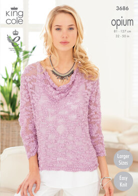 Ladies' Drape Neck Sweaters in King Cole Opium - 3686