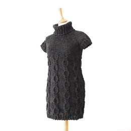 Cable Knitted Dress for Women - Ocean