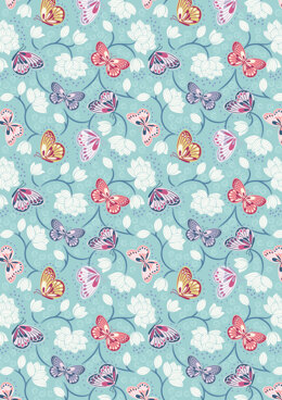 Lewis & Irene Sew Mindful Lotus Flowers on Pale Blue Cut to Length
