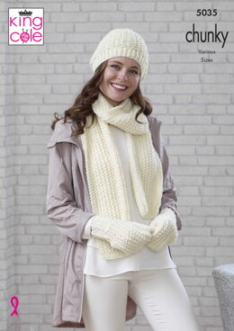 Beanie, Scarf, Mittens, Snood, Slouchy Hat & Wrist Warmers in King Cole Magnum Chunky - 5035 - Downloadable PDF