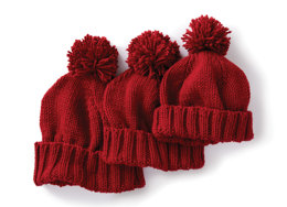 Basic Family Knit Hat in Caron One Pound - Downloadable PDF