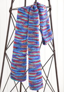 One Warm Coat¬ Knit Scarf in Red Heart Super Saver Economy Prints - LW2779