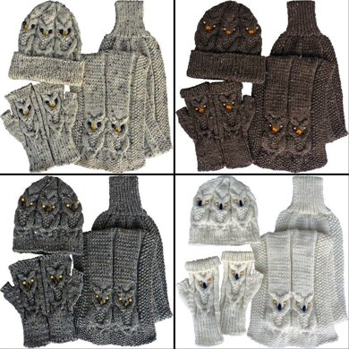Owl Gloves Hat Amp Scarf Knitting Pattern By Kittyknits