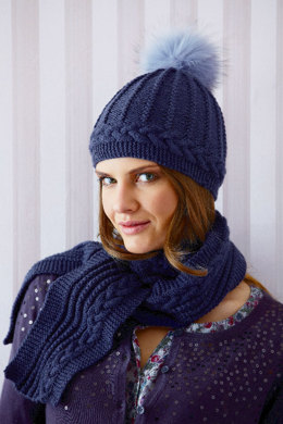 Cable Scarf and Hat with Fur Pompom in Schachenmayr Universa - S7548