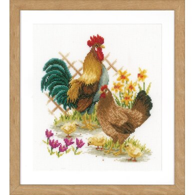 Vervaco Chicken Family Cross Stitch Kit - 24cm x 26cm