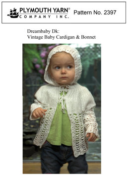 Vintage Baby Cardigan & Bonnet in Plymouth Yarn Dreambaby DK - 2397 - Downloadable PDF