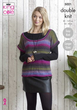 Ladies Tunic And Top in King Cole Sprite DK - 5021 - Downloadable PDF