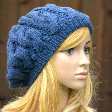 Womens Slouchy Cable Beret Kpwt02 In Wendy Serenity Chunky Knitting