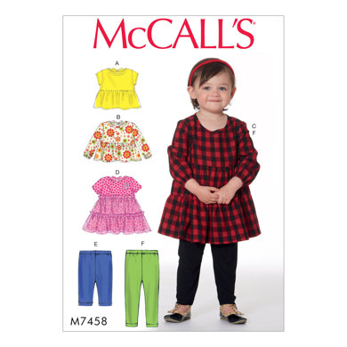 McCall's Toddlers' Gathered Tops, Dresses and Leggings M7458 - Sewing Pattern