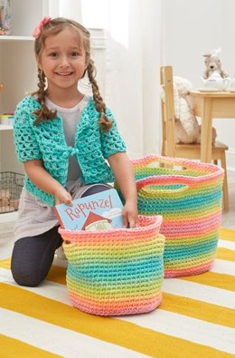 Striping Fun Crochet Baskets in Red Heart Super Saver Stripes - LW5796 - Downloadable PDF