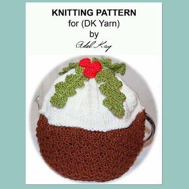 Chocolate Christmas Pudding Decoration Holly Berry Teapot Tea Pot Cosy Cozy DK Yarn Knitting Pattern by Adel Kay