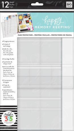 Me & My Big Ideas Happy Memory Keeping Big Page Protectors - 12 Pre-Punched Sheets, 4 Designs/3 Each