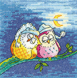 Heritage Night Owls Cross Stitch Kit - 11cm x 11cm