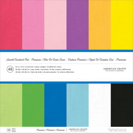 "American Crafts Smooth Cardstock Pack 80lb 12""X12"" 48/Pkg - Primaries"