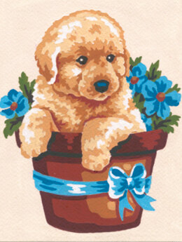 Collection D'Art Puppy in Flower Pot Tapestry Kit - 14 x 18 cm