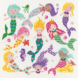 Bothy Threads Slightly Dotty Mermaids Cross Stitch Kit - 26cm x 26cm