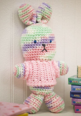 My First Bunny in Red Heart Baby Econo Prints & Multis and Baby Econo Solids - LW2305 - Downloadable PDF