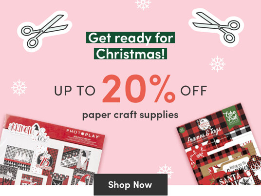 Up to 20 percent off Christmas paper craft supplies!