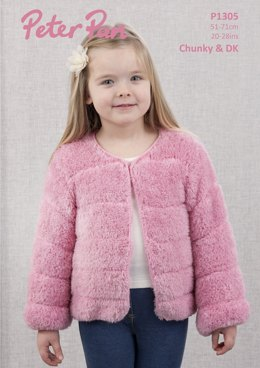 Faux Fur Jacket in Peter Pan Precious Chunky and DK - P1305 - Downloadable PDF