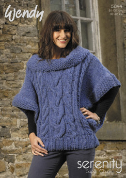 Cabled Poncho Sweater in Wendy Serenity Super Chunky - 5644