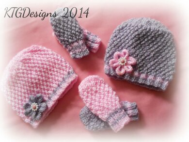 Grace  Hat   Mitts Set Knitting pattern by KTG Knitting Designs ... e78d664d61c
