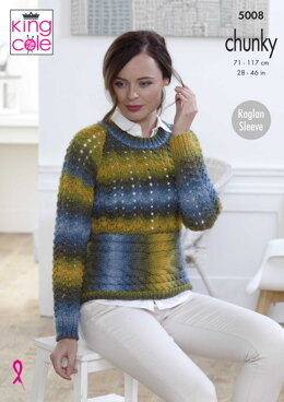 Long and Short Sleeved Sweater in King Cole Riot Chunky - 5008 - Downloadable PDF