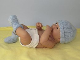 Just For Preemies - Premature Baby Simple 4 Ply Beanie and Booties Set