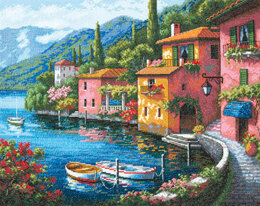Dimensions Lakeside Village Cross Stitch Kit - 38cm x 30cm