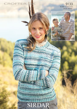 Crew Neck and Collared Sweaters in Sirdar Crofter DK - 9133