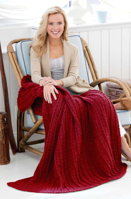 Cabled & Shell Throw in Red Heart Super Soft Solids - LW3292 - Downloadable PDF