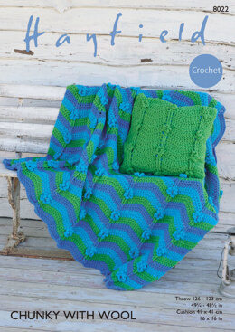 Throw and Cushion Cover in Hayfield Chunky with Wool - 8022 - Downloadable PDF