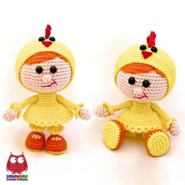 116 Girl Doll in a chicken outfit Amigurumi
