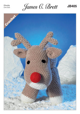 Rudolf the Reindeer Toy in James C. Brett Flutterby Chunky - JB405