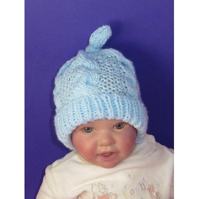 Baby Simple Cable Stitch Topknot Beanie Hat