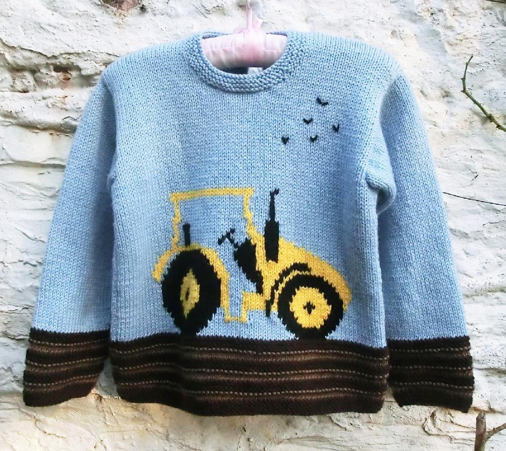 Knitting Pattern Tractor Jumper : Childs Sweater with Tractor Motif Knitting pattern by Ruth Maddock Knitting...