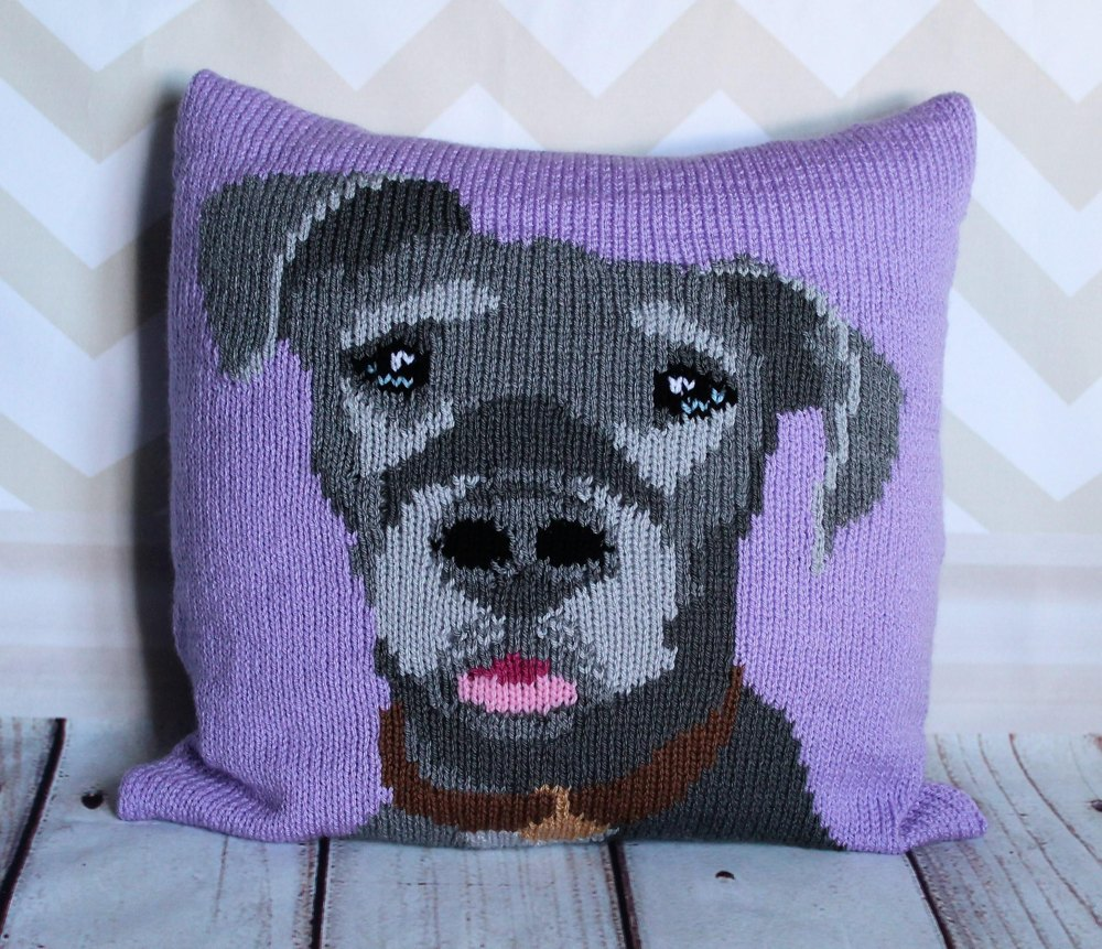 Great Dane Dog Cushion Cover Knitting pattern by Ruby and the Foxes