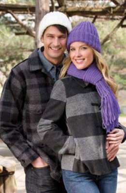 Ribbed Hat and Scarf in Red Heart With Love Solids - 928.0688