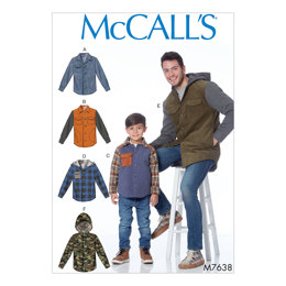 McCall's Men's and Boys' Lined Button-Front Jackets with Hood Options M7638 - Sewing Pattern