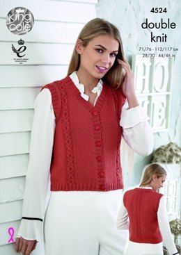 Waistcoat with Cap Sleeves or Armhole Borders in King Cole Smooth DK - 4524