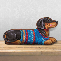 PANNA Dachshund Cross Stitch Cushion Front Kit - 48cm x 24.5cm