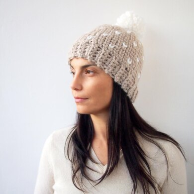 Fair isle knit look hat with pompom