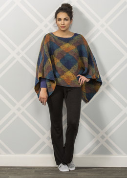 Loch Ness Knit Poncho in Premier Yarns Everyday Plaid - Downloadable PDF