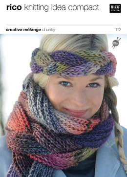 Plaited Scarf and Headband in Rico Creative Melange Chunky - 112
