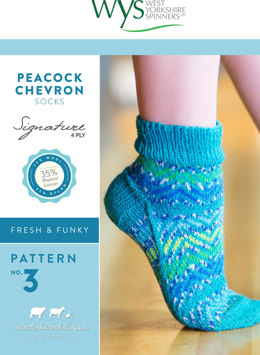 Peacock Chevron Socks in West Yorkshire Spinners Signature 4 Ply - Downloadable PDF